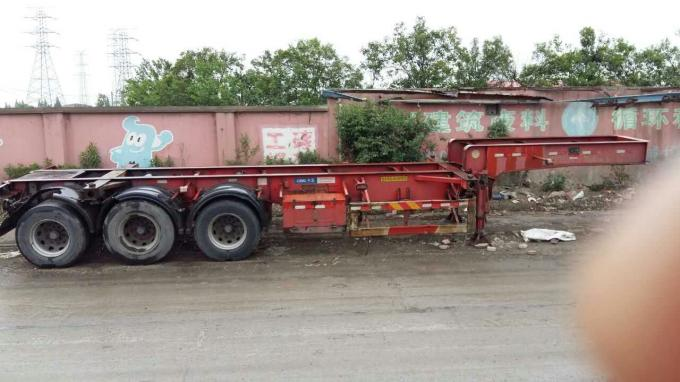 40ft 3 Axle Sea Container Trailer , Used Semi Flatbed Trailers Steel Material